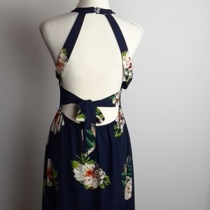 N l w maxi dress cut-out back halter Floral navy